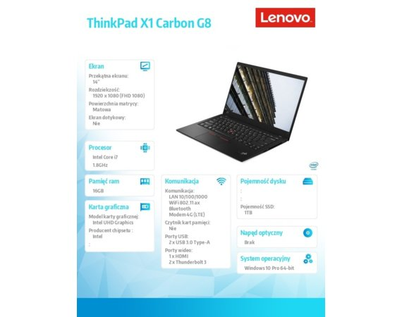 Lenovo Ultrabook ThinkPad X1 Carbon 8 20U9004TPB W10Pro i7-10510U/16GB/1TB/INT/LTE/14.0 FHD/Black/3YRS OS