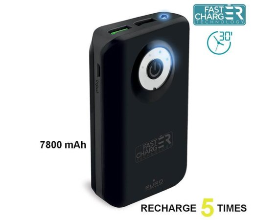 PURO External Fast Power Bank 7800 mAh black