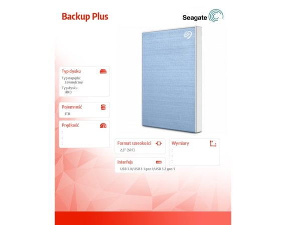 Seagate Dysk Backup Plus 1TB 2,5 STHN1000402 Blue