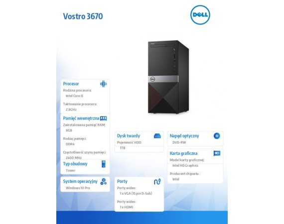 Dell Komputer Vostro 3670 Win10Pro i5-8400/8GB/1TB/DVDRW/Intel UHD 630/KB216/MS116/3Y NBD