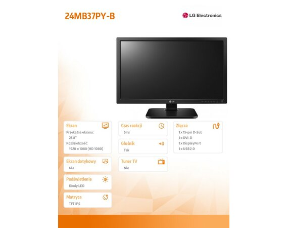LG Electronics Monitor 23.8 24MB37PY-B  LED IPS D-sub/DVI/DP/USB