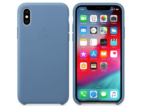 Apple Etui skórzane iPhone XS - chabrowe