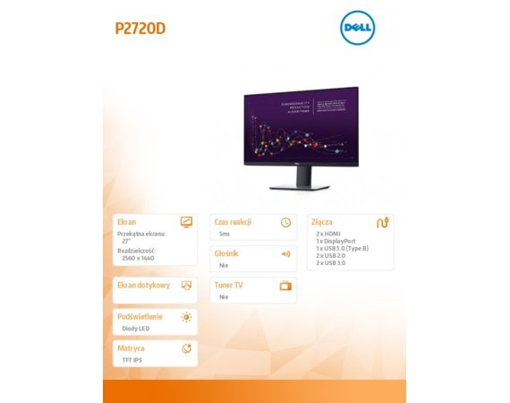 "Dell Monitor P2720D 27""  IPS LED QHD (2560x1440) /16:9/HDMI/DP/4xUSB /5Y PPG"