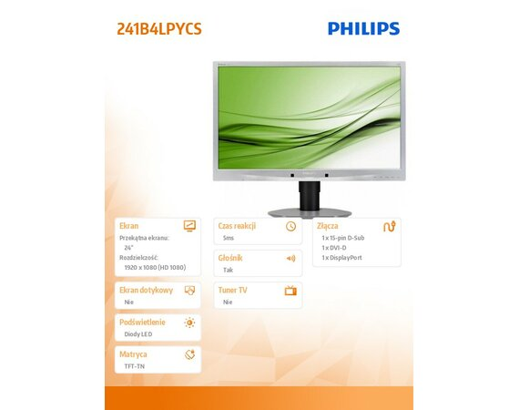 Philips 24'' 241B4LPYCS LED DVI DisplayPort Pivot USB Srebrny