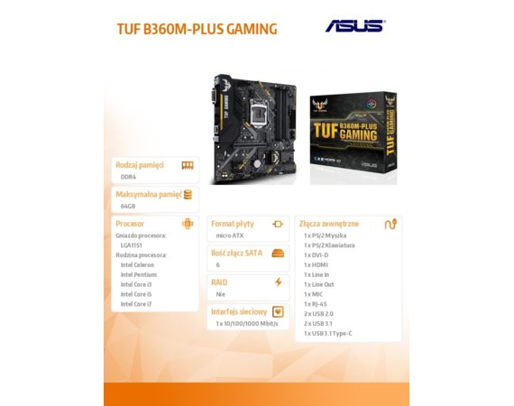 Asus TUF B360M-PLUS GAMING 4DDR4 DVI/HDMI/M.2 uATX