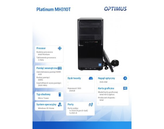 OPTIMUS Komputer Platinum MH310T G5400/4GB/240G/DVD/W10