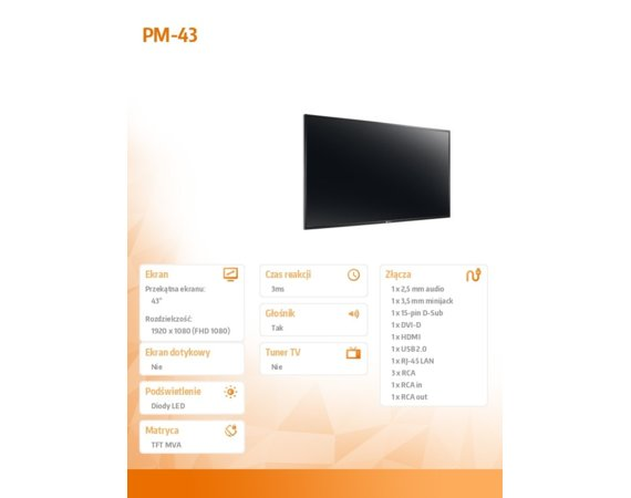 AG NEOVO Monitor PM-43 CZARNY 43'' FULL HD LED VA 350cd/m2 3000:1 24/7