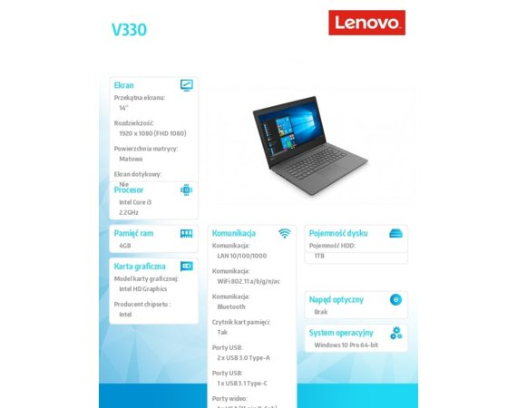 Lenovo Laptop V330-14IKB 81B000BEPB W10Pro i3-8130U/4GB/1TB/INTEGRATED/14.0 FHD IRON GREY/2YRS CI