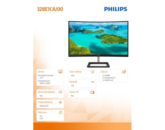 Philips Monitor 328E1CA 31.5 cala Curved VA 4K HDMIx2 DP