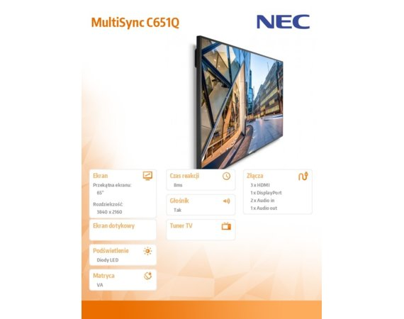 NEC Monitor MultiSync C651Q 65 VA Direct LED 24/7