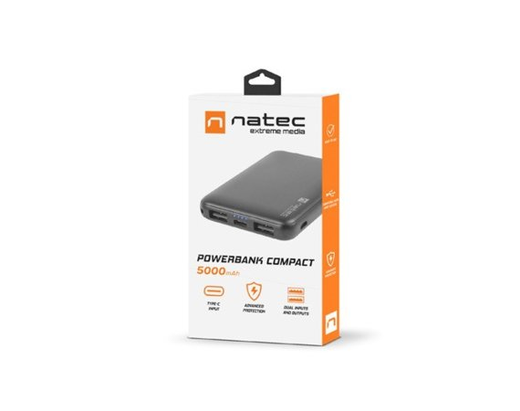 NATEC Power Bank Extreme Media Trevi Compact 5000mAh 2x USB + 1x USB-C czarny