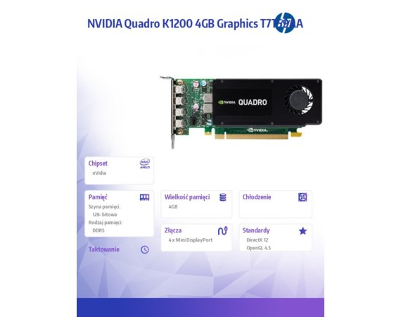 HP Inc. NVIDIA Quadro K1200 4GB Graphics T7T59AA