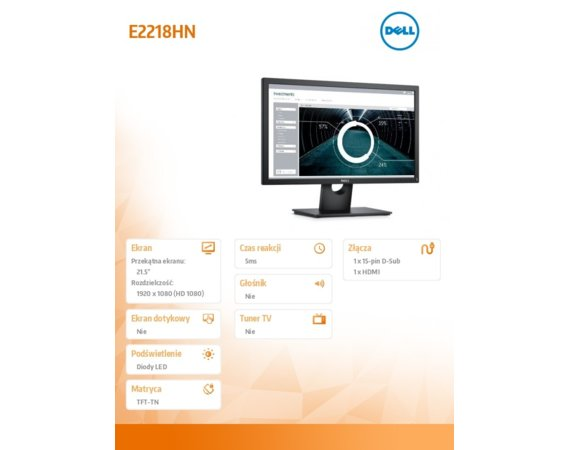 Dell Monitor 22 E2218HN WLED TN  Full HD ( 1920x1080) /16:9/VGA/HDMI/3Y PPG