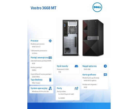 Dell Vostro 3668MT Win10Pro i7-7700/1TB/8GB/DVDRW/Intel HD/KB216/MS116/3Y NBD