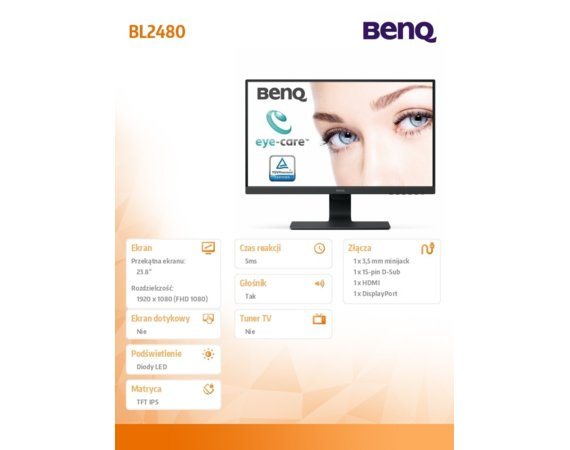 Benq Monitor BL2480 24 cale LED 4ms/1000:1/IPS/HDMI