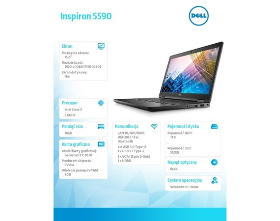 Dell Notebook Inspiron 5590 Win10Home i7-9750H/512/1TB/16/Black