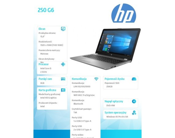 HP Inc. Laptop 250 G6 i5-7200U 15,6 256/8G/15,6/W10P 1XN73EA