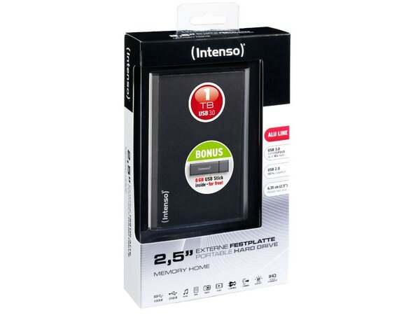 Intenso 1TB 2.5'' USB 3.0 MEMORYHOME Black + Pendrive 8GB ALU
