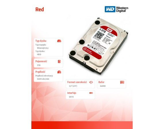 Western Digital HDD Red 3TB 3,5'' 64MB SATAIII/5400rpm