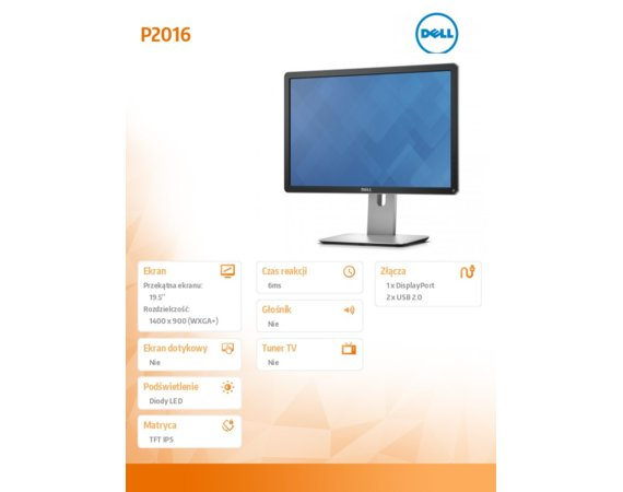 Dell Monitor 19.5 P2016 IPS LED (1440x900) /16:10/VGA/DP 1.2/2xUSB 2.0/3Y PPG