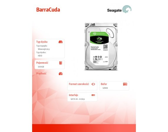 Seagate BarraCuda 500GB 3,5'' 32MB ST500DM009