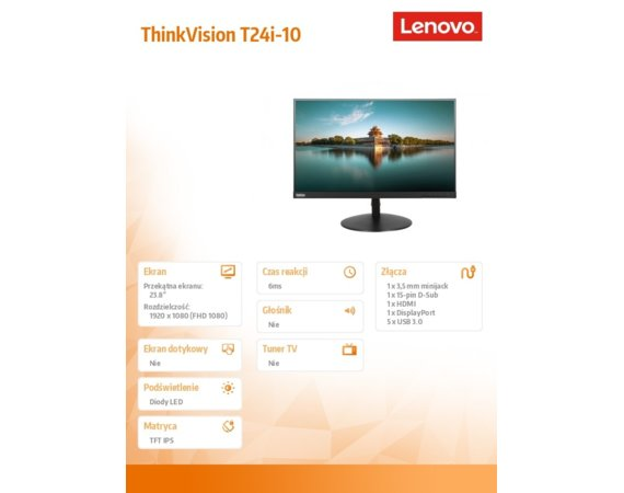 Lenovo Monitor 23.8 ThinkVision T24i-10 Wide FHD IPS 61CEMAT2EU