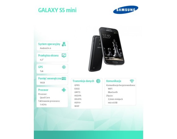 Samsung GALAXY S5 mini G800H BLACK DS