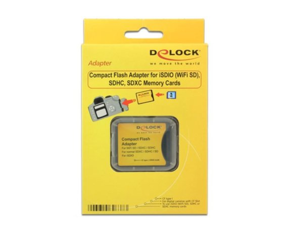 Delock Adapter karty SD/SDHC/ SDXC/ISDIO -> Compact Flash