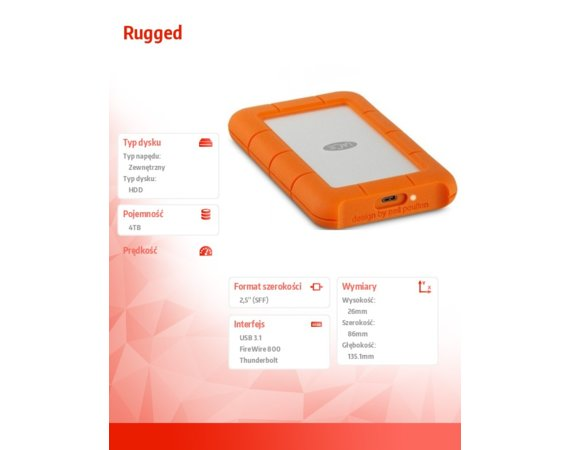 LaCie Rugged  4 TB USB 3.1 c 2,5'' STFR4000800