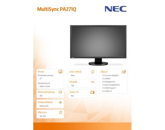 NEC Monitor 27 MultiSync PA271Q czarny IPS W-LED 350cd/m2