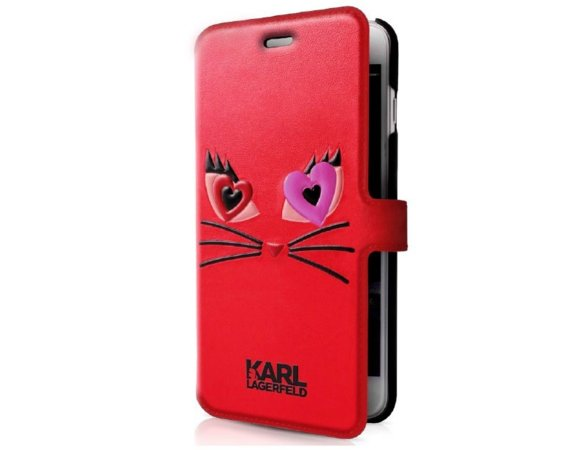 Karl Lagerfeld Etui book iPhone 7 KLFLBKP7CL2RE czerwony CHOUPETTE IN LOVE