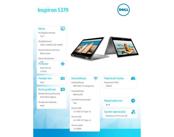 "Dell Notebook Inspiron 5379 Win10Pro i5-8250U/256GB/8GB/Intel HD/13.3""FHD/KB-Backlit/42WHR/3Y NBD/Silver/3Y"