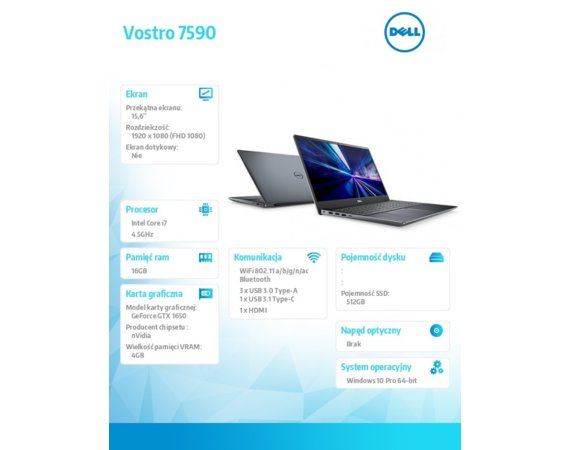 Dell Notebook Vostro 7590 Win 10 Pro i7-9750H/512GB/16GB/GTX 1650/15.6 FHD/6-cell/KB-Backlit/3Y BWOS