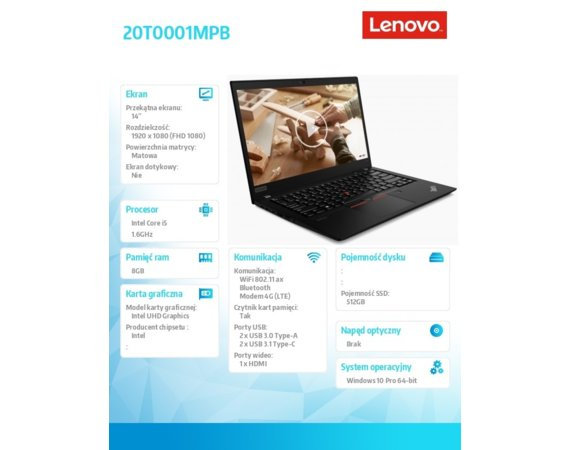 Lenovo Ultrabook ThinkPad T14s G1 20T0001MPB W10Pro i5-10210U/8GB/512GB/INT/14.0 FHD/Black/3YRS OS