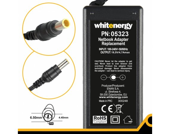 Whitenergy Zasilacz 19.5V | 4.7A 92W wtyk 6.5x4.4 mm + pin Sony 05323