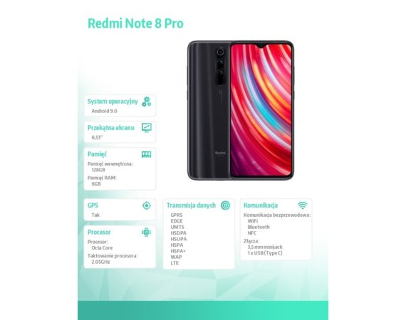 XIAOMI Smarfton Redmi Note 8 Pro DS. 6/128GB - Grey EU