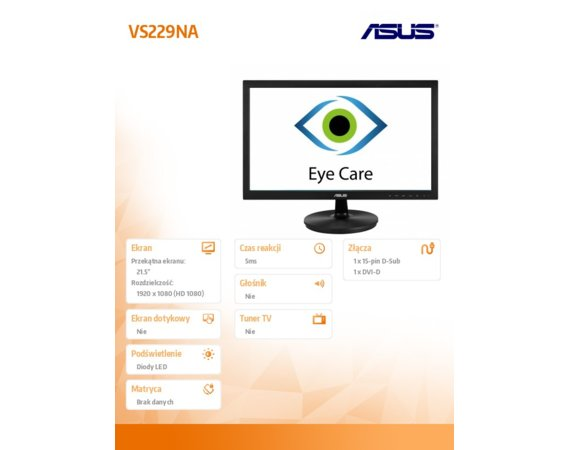 Asus Monitor 21.5 VS229NA 250cd/m2 D-sub/DVI-D