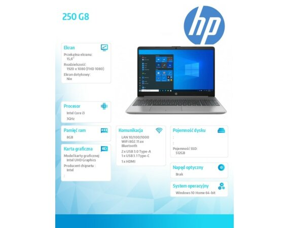 HP Inc. Notebook 250 G8 i3-1115G4 512/8G/W10H/15,6 2X7L3EA