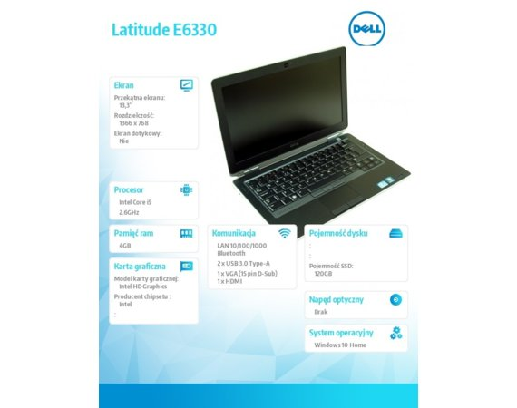 Dell Laptop Poleasingowy Latitude E6330 i5-3320 4GB 120GB SSD Windows 10 Home + Fsecure Internet Security 12m.