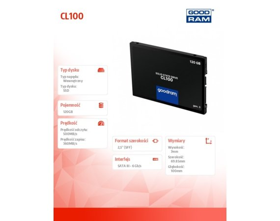 GOODRAM Dysk CL100 G3 120GB  SATA3 2,5