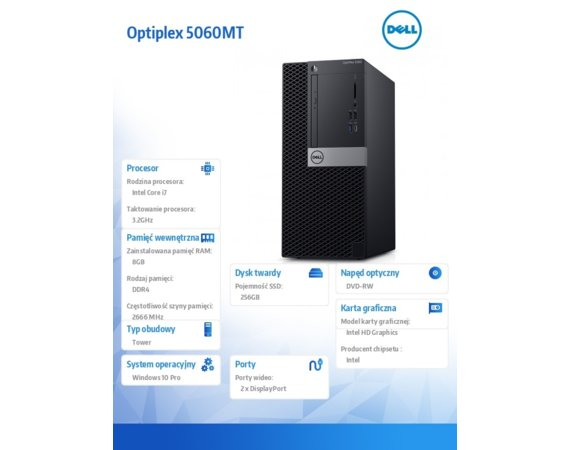 Dell Komputer Optiplex 5060MT W10Pro i7-8700/8GB/256GB/Intel UHD 630/DVD RW/KB216/MS116/260W/3Y NBD