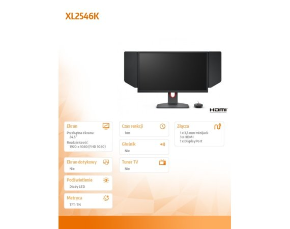 ZOWIE Monitor XL2546K LED 1ms/12MLN:1/HDMI/GAMING