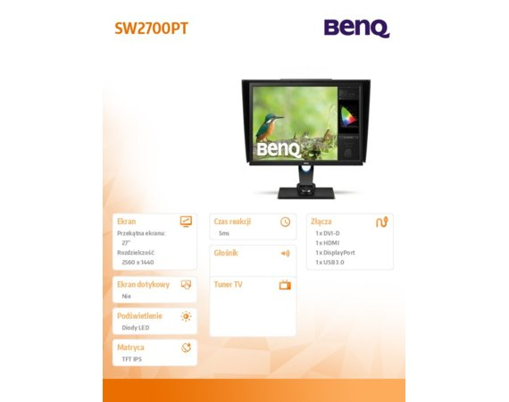Benq Monitor 27 SW2700PT LED QHD,IPS,HDMI,DP,USB