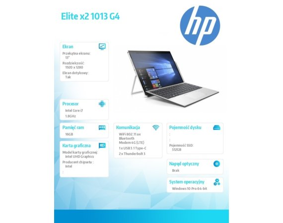 HP Inc. Notebook Elite x2 1013 G4 W10P i7-8565U/512/16G 7KN92EA
