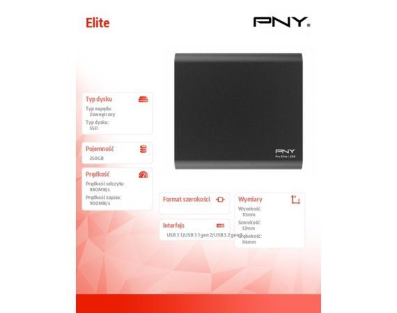 PNY Dysk SSD Pro Elite 250GB USB 3.1 PSD0CS2060S-250-RB