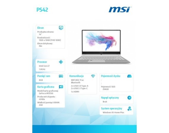 MSI Notebook PS42 8RB-074PL  W10/i7-8550U/8GB/256SSD/MX150/14 FHD