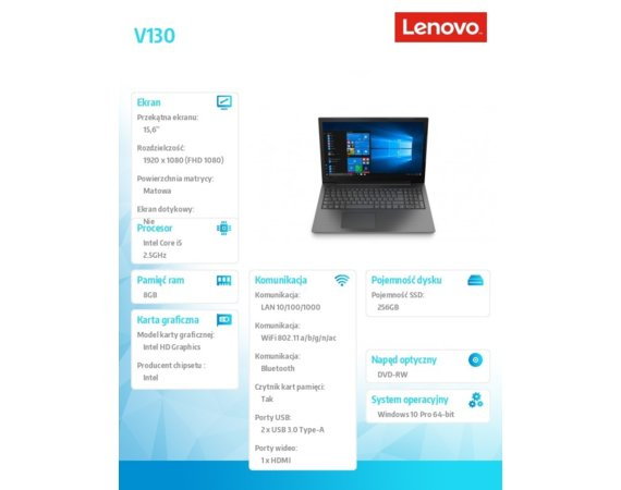 Lenovo Laptop V130-15IKB 81HN00EAPB W10Pro i5-7200U/4GB+4GB/256GB/INTEGRATED/15.6 FHD/IRON GREY/2YRS CI