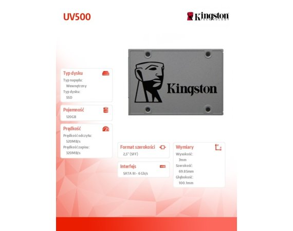 Kingston SSD UV500 SERIES 120GB SATA3 2.5''  520/320 MB/s