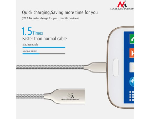Maclean Kabel USB Lightning iPhone metalowy srebrny MCE191 - Quick & Fast Charge
