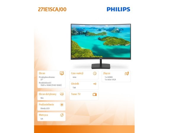 Philips Monitor 271E1SCA 27'' Curved VA HDMI FreeSync
